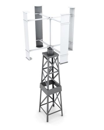 regenerating: Wind powered generator of electricity. 3d rendering.