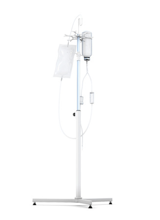 catheter: Stand for a dropper isolated on white background. 3d render image. Stock Photo