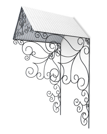 carport: Wrought iron canopy isolated on white background. 3d render image.