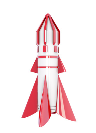 spaceport: Spaceship isolated on a white background. 3d rendering.