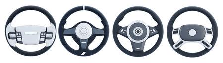 Verschillende stuurwielen die op witte achtergrond worden geïsoleerd. 3D-rendering. Stockfoto - 53397882