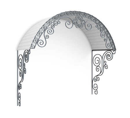 Wrought iron canopy isolated on white background. 3d illustration.