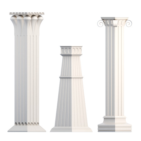 3d temple: Set of columns isolated on white background. 3d rendering. Stock Photo