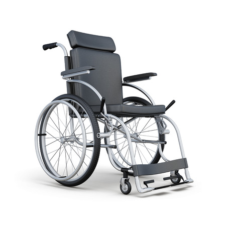 footrest: Wheelchair isolated on white background. 3d rendering. Stock Photo