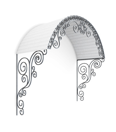 silhouette maison: auvent en fer forgé isolé sur fond blanc. Avec des éléments métalliques incurvés. Une forme semi-circulaire. Élément décoratif pour la maison. image 3d Banque d'images
