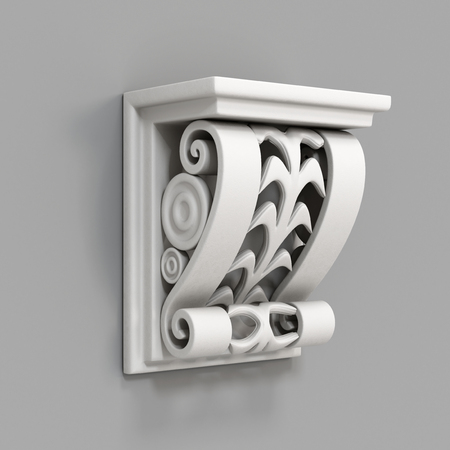 architectural rendering: Architectural decorative element on a gray background. 3d rendering.