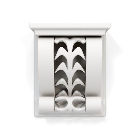 bracket: Decorative architectural bracket isolated on white background. 3d render image.