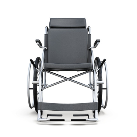 incapacitated: Wheelchair on a white background. Rear view. 3d rendering.