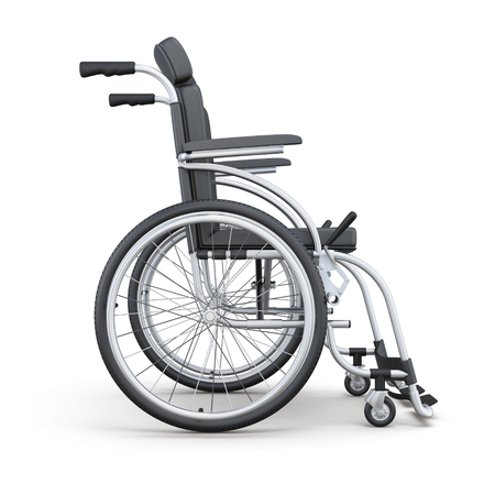 Wheelchair on a white background. Side view. 3d rendering. Stock Photo