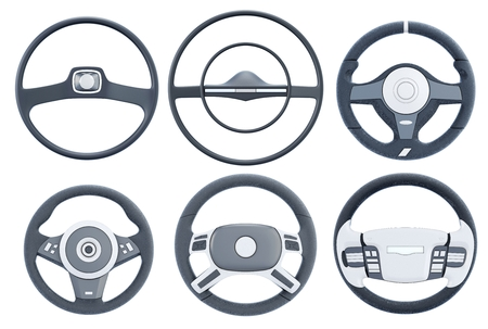 steering wheel: Set steering wheel on a white background. 3d rendering.