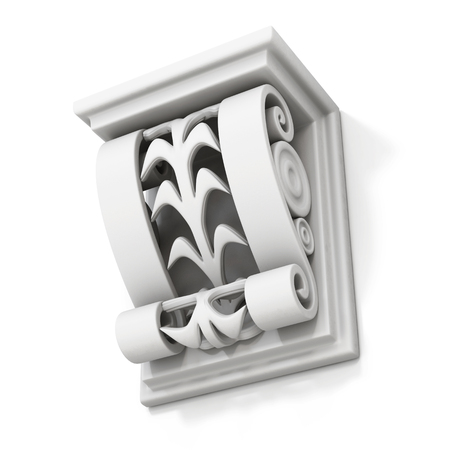bracket: Decorative architectural bracket isolated on white background. 3d rendering.