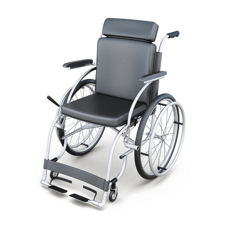 incapacitated: Wheelchair on a white background. 3d render image.