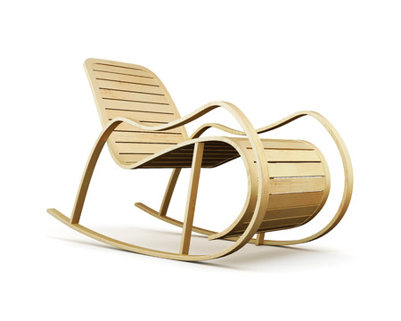 swimming pool home: Wooden rocking chair isolated on white background. 3d rendering.