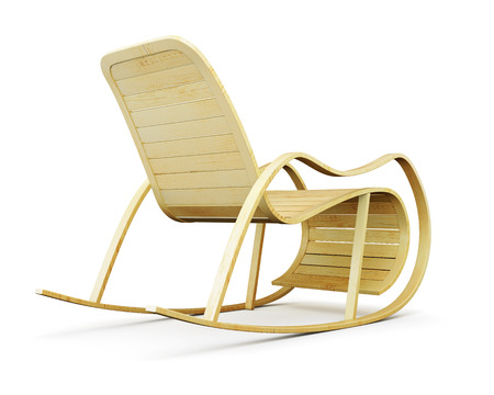 Wooden rocking chair isolated on white background. 3d render image.