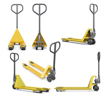 pallet truck: Set of hand pallet truck isolated on white background. 3d rendering. Stock Photo