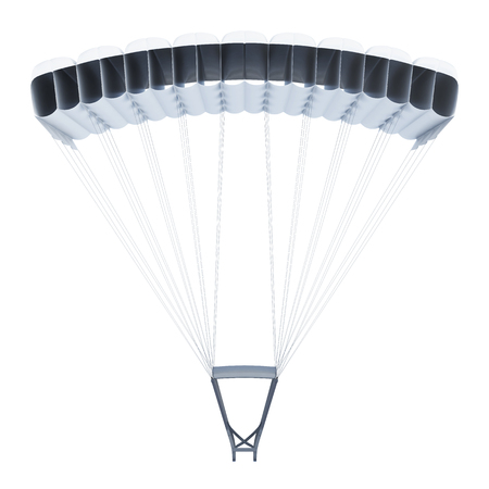 engine powered: Frontal image of a parachute on white background. 3d rendering.