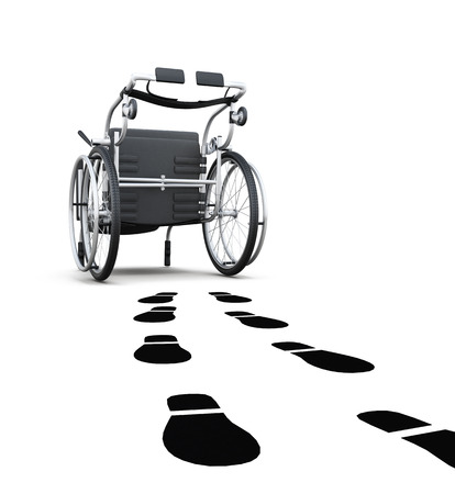 conceptual image: Conceptual image of a wheelchair and footprints. 3d rendering.