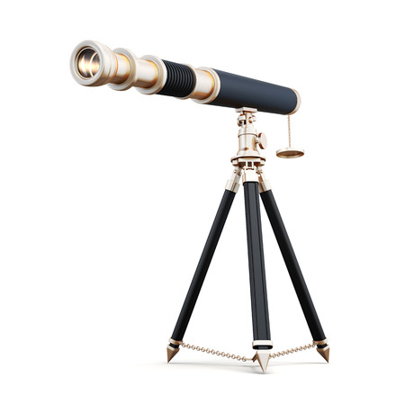 eyepiece: 3d model telescope isolated on white background. Telescope on stand, black with gold elements.
