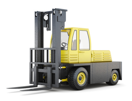 stacker: Forklift truck isolated on a white background. 3d rendering.