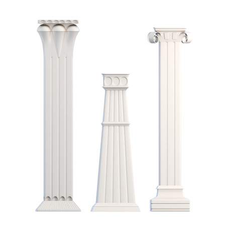 antiquities: Modern columns isolated on white background. 3d rendering.