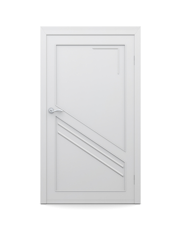 input output: 3d image of door isolated on a white background. Closed door.