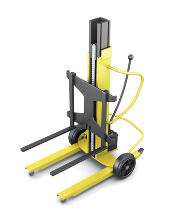 counterbalanced: Yellow forklift on a white background. 3d illustration. Stock Photo