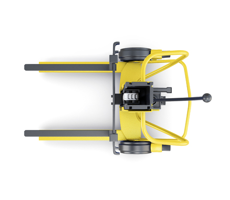 Yellow forklift on a white background. Top view. 3d illustration.