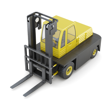 counterbalanced: Modern forklift isolated on white background. 3d rendering.