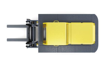 montacargas: carretilla elevadora vista desde arriba aislado sobre fondo blanco. Las 3D. Foto de archivo