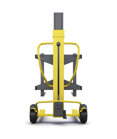 counterbalanced: Yellow loader isolated on white background. 3d illustration.  Rear view.