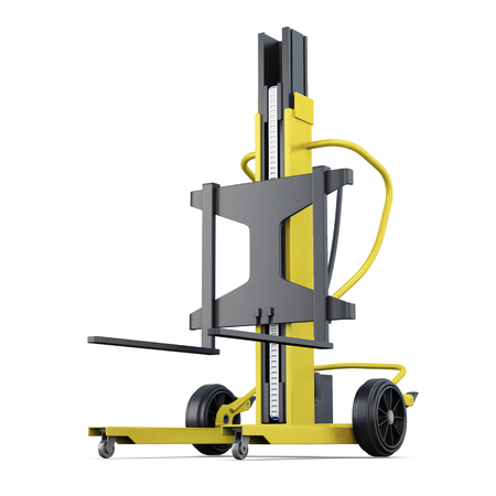 counterbalanced: Yellow forklift on a white background. 3d rendering. Stock Photo