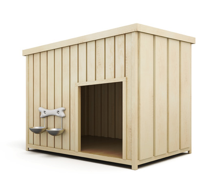 shape cub: Wooden dog house isolated on a white background. 3d render image.