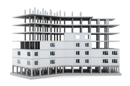 house under construction: Image of a house under construction isolated on white background. 3d rendering. Stock Photo