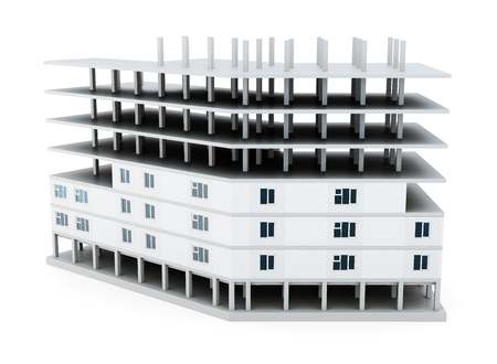 urban planning: Building under construction on white background. 3d rendering.