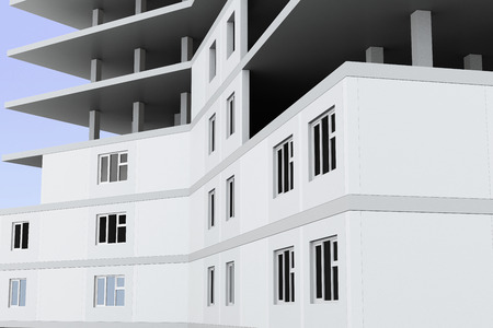 urban planning: Closeup of a building under construction. 3d rendering.