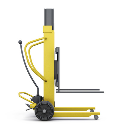 counterbalanced: Yellow loader isolated on white background. 3d rendering.