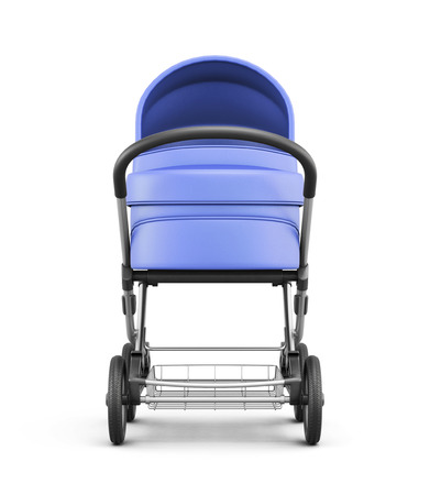 frontal: Frontal view of a baby stroller isolated on white background. For boy.  3d rendering.