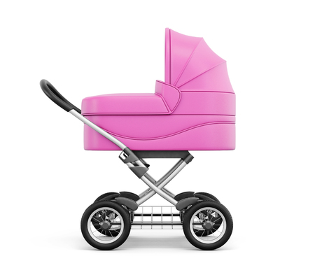 sweet baby girl: Side view of baby stroller on a white background. 3d rendering.