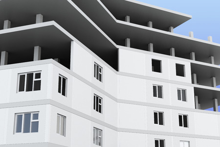 multistory: Closeup of a building under construction. 3d render image.