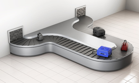 airport arrival: Conveyer belt at the airport. Baggage claim. 3d rendering. Stock Photo
