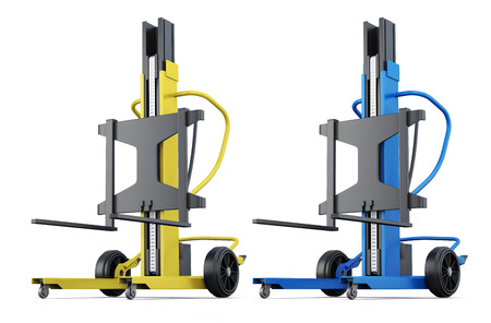 counterbalanced: Yellow and blue loader on a white background. 3d rendering. Stock Photo
