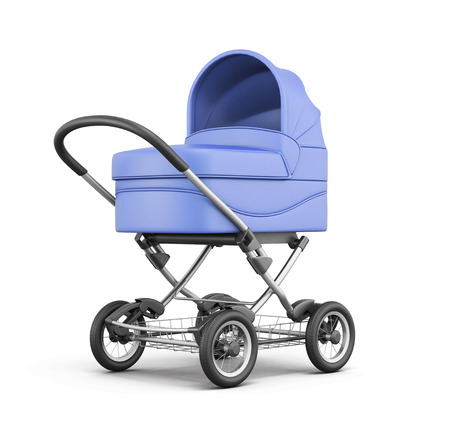 baby isolated: Blue baby stroller isolated on white background. For boy. 3d rendering.
