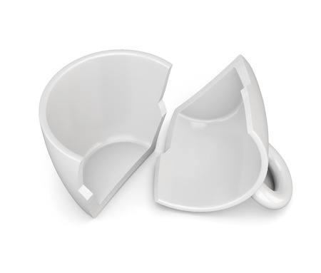 Two halves of the broken cup isolated on white background. 3d rendering.