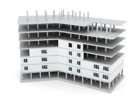 urban planning: Building under construction on white background. 3d render image. Stock Photo