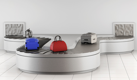 conveyer: Conveyer belt at the airport. Baggage claim. 3d rendering. Stock Photo