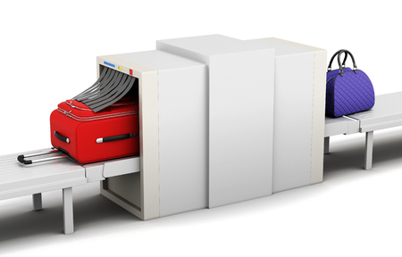 baggage: Illustration of baggage scanner on a white background. 3d rendering.