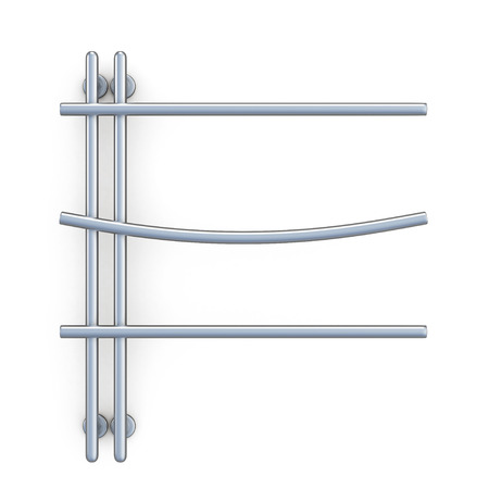 silver plated: Design of the towel rail isolated on white background. 3d rendering.