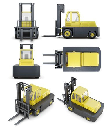 autotruck: Set of forklift isolated on white background. 3d render image. Stock Photo