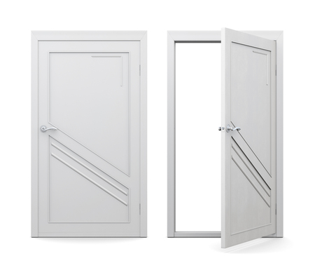 doorframe: Open and closed white door isolated on white background. 3d rendering.