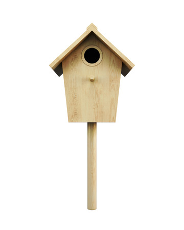 aviary: Wooden bird house on a pole isolated on a white background. Front view. 3d rendering.
